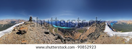 360 degree View of Lake Hector & Bow Lake from Bow Mountain Summit,  Banff National Park, Alberta, Canada. - stock photo