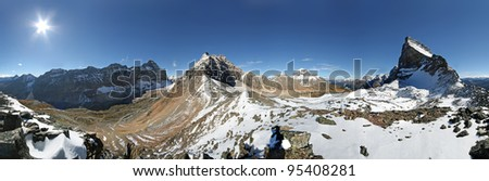 360 degree View of the Valley of the Ten Peaks from Wenkchemna Pass, Lake Louise, Banff National Park, Alberta, Canada The start point for this hike is Moraine Lake Parking Lot - stock photo
