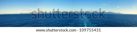 180 degree view of whole island of st lucia, seen from the sea - stock photo