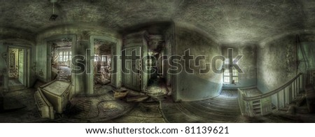 360 degrees panorama in an abandoned complex. various things lying around. the ceiling and the floor in some of the rooms are broken. hdr processing - stock photo