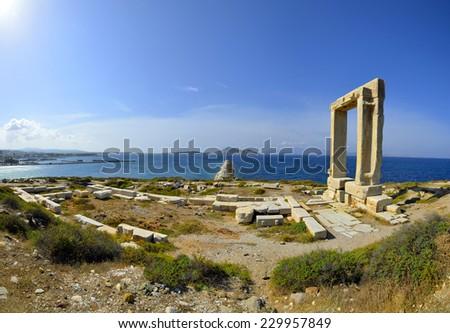 180 degrees panoramic photo of Portara, Naxos, Greece - stock photo
