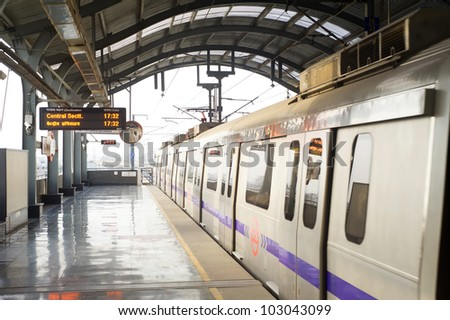 Delhi Metro station on March 03, 2012 in Delhi. Delhi Metro network consists of six lines with a total length of 189.63 kilometres (117.83 mi) with 142 stations - stock photo