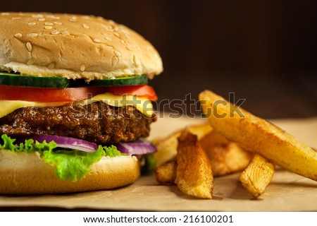 Delicious Cheeseburger - stock photo