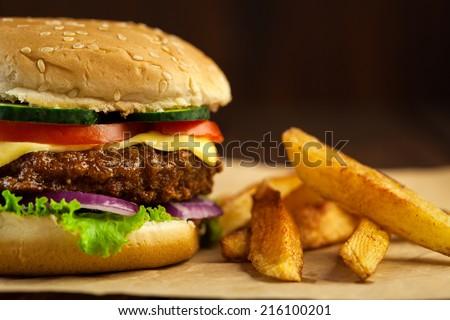 Delicious Cheeseburger - stock photo