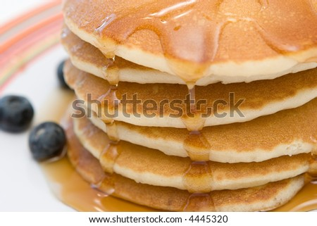 Delicious pancakes with blueberries - stock photo