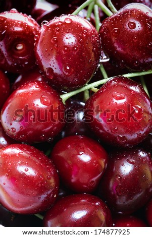 Delicious ripe cherries background  - stock photo