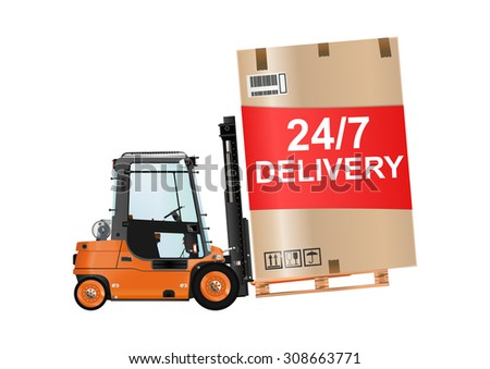 24/7 delivery. Forklift truck with a huge box on the white background. Raster illustration. - stock photo