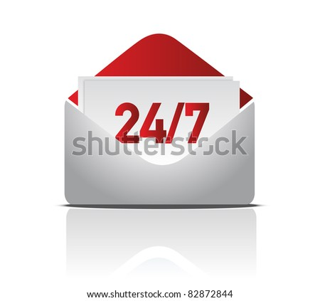 24/7 delivery mail illustration design - stock photo
