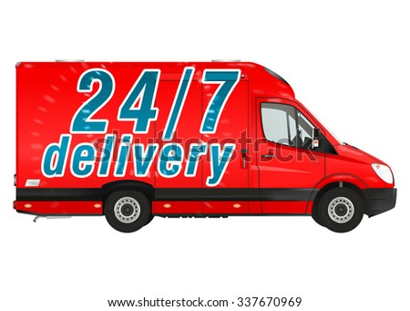 24 7 delivery. Red courier van on the white background. Raster illustration. - stock photo