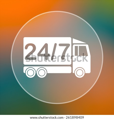 24 7 delivery truck icon. Internet button on colored  background.  - stock photo