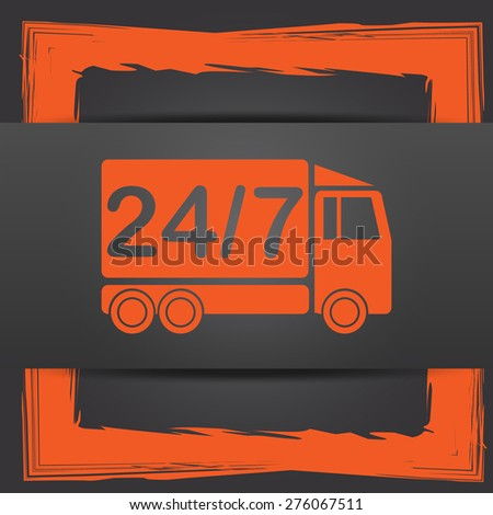 24 7 delivery truck icon. Internet button on grey background.