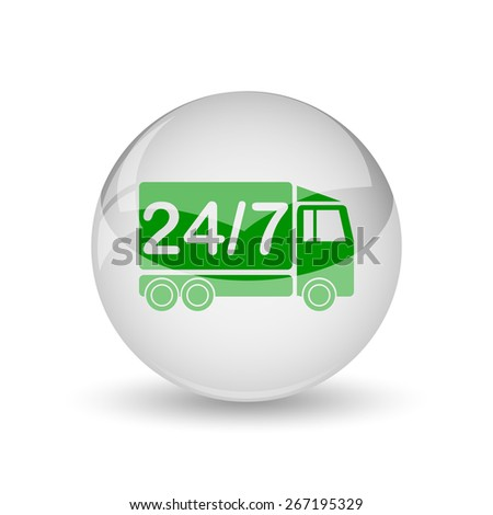 24 7 delivery truck icon. Internet button on white background.