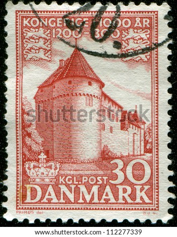 DENMARK - CIRCA 1953: A stamp printed in the Denmark shows Nyborg Castle, from 12 Century, circa 1953