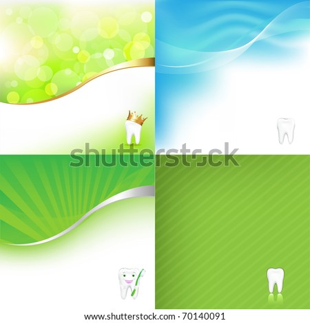 4 Dental Background With Tooth - stock photo