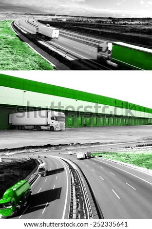 Design trucks and transport. Highway and delivering.Warehouse - stock photo