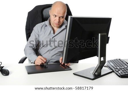 designer does the work on your computer. Isolated on white background - stock photo