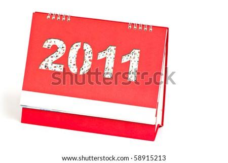 2011 desktop calendar isolated on white background - stock photo