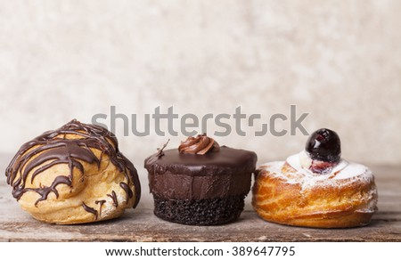 3 Desserts-Cream Puff, Brownie and Cherry Filled Pastry
