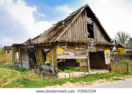 destroyed house - stock photo