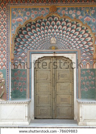 Detail, decorations  of Maharaja's private rooms in City Palace of  Jaipur, Rajasthan, India