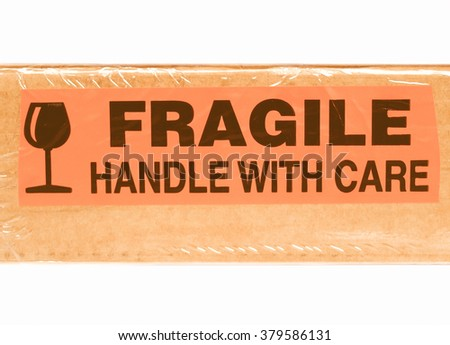 Detail of a fragile corrugated cardboard packet vintage