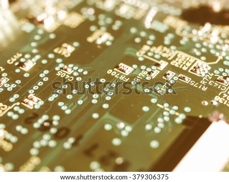 Detail of an electronic printed circuit board vintage - stock photo