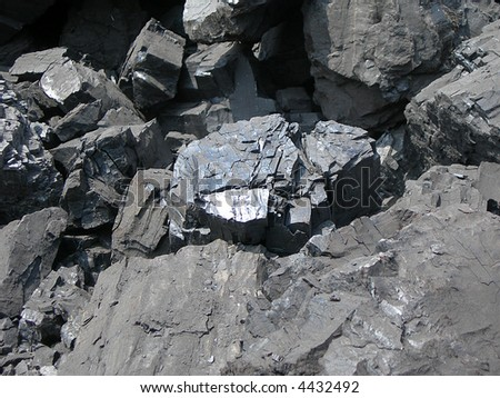 Detail of black coal in coal mine - stock photo