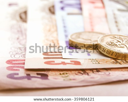 Detail of Euro and Pounds money currency vintage - stock photo