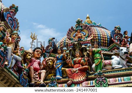 Detail of Sri Mariamman Temple  in Singapore. It is Singapore's oldest Hindu temple. It is an agamic temple, built in the Dravidian style./Detail of the Sri Mariamman Temple in Chinatown, Singapore - stock photo