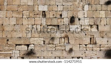 Detail of the Wailing Western Wall, December. Jerusalem, Israel - stock photo