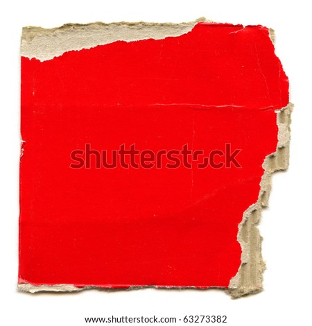 Detailed Real Piece Of Large Red Cardboard Isolated On White - stock photo
