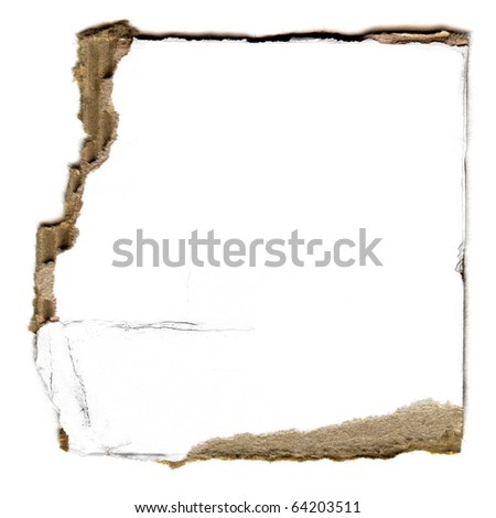 Detailed Real Piece Of Large White Cardboard Isolated On White - stock photo