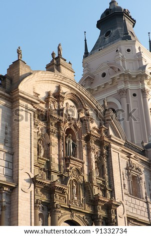 Details of National Cathedral on plaza de armas also known as plaza mayor,  Lima peru - stock photo