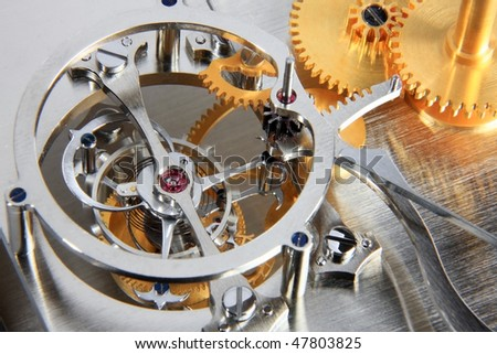 Details of the mechanism of a mechanical clock