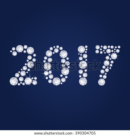 2017 Diamonds numbers with reflection. Happy New Year. Blue Greeting card. - stock photo