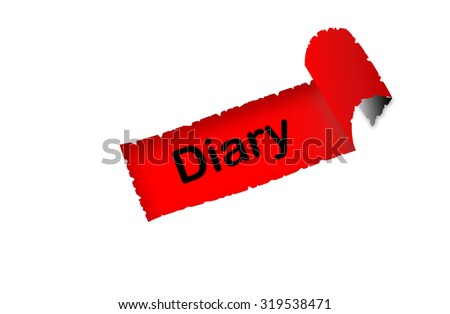"""Diary"" text on red background paper with white paper ripped apart of it - online shopping, marketing and internet concept - stock photo"