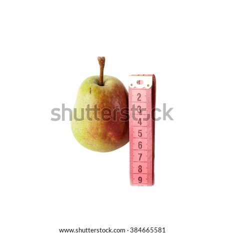 Diet Concept.  Fresh pear with pink Measuring Tape on a white background - stock photo