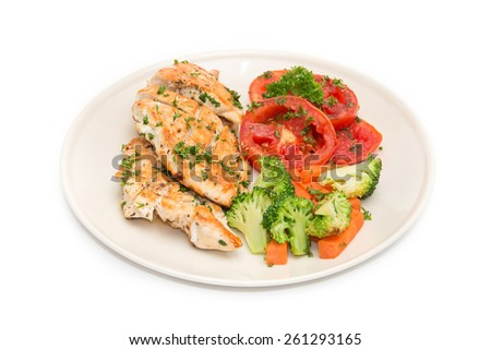 Diet food, Clean Eating, Chicken Steak with grilled vegetables on white background  - stock photo