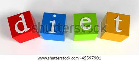 """diet"" phrase compiled with a cubes - 3d rendering - stock photo"
