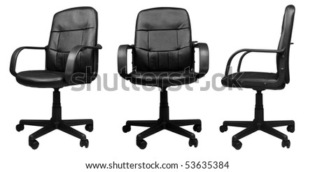 3 different angels of Office Leather Chair isolated on white background - stock photo