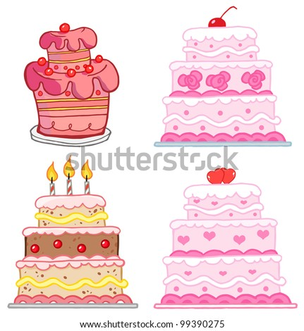 Different Cakes. Raster Illustration.Vector version also available in portfolio. - stock photo