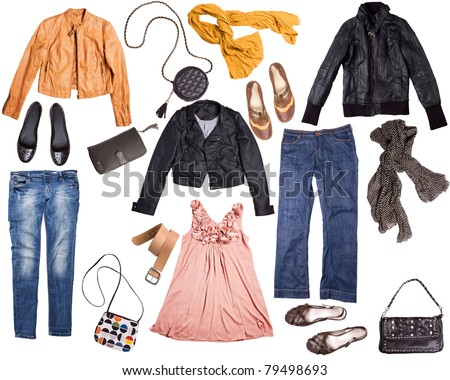 different clothes for females isolated on white background - stock photo