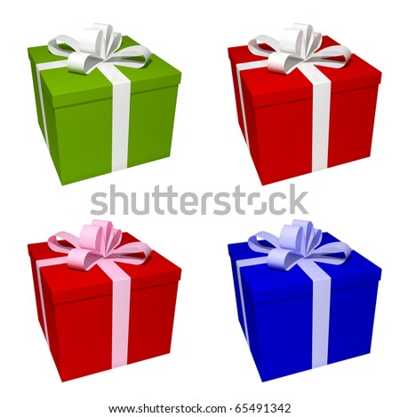 4 different colored giftboxes - stock photo