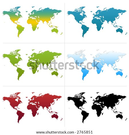 6 different colored maps of the world. - stock photo