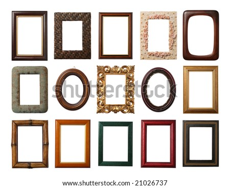 15 different frames isolated on white - stock photo