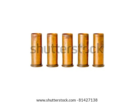 5 different old brass bullet casing, shot by revolver hand gun, studio shot - stock photo