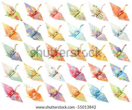 30 different paper birds isolated on a white background - stock photo