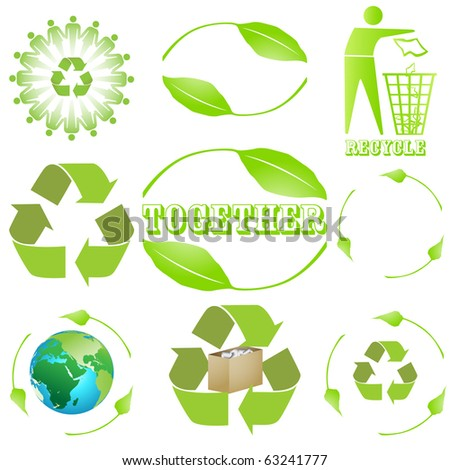 9 different recycling sign, symbol design isolated on white