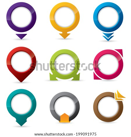 9 different shape and color editable icon designs - stock photo
