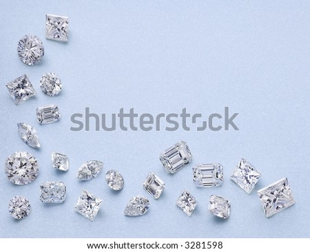 21 Different Shaped Diamonds as a border - stock photo